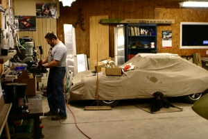 working in garage